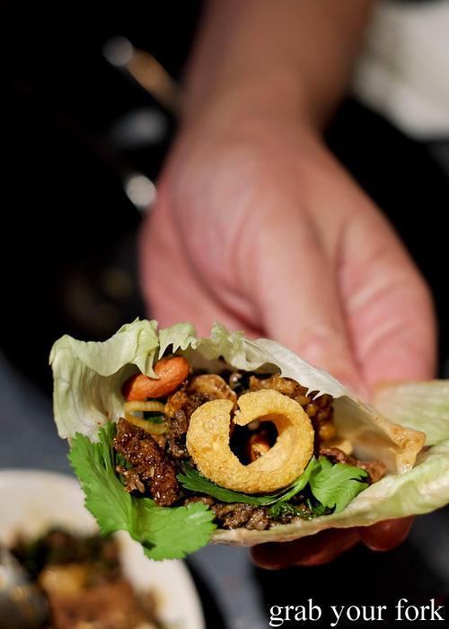 Larb kua sang choy bao with pork, liver and intestine at Chung Tang, Chatswood