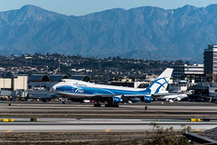 Air Bridge Cargo Boeing 747-400 freighter departs the south complex at LAX
