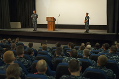Adm. Scott Swift and Pacific Fleet Master Chief Suz Whitman speak to more than 350 Sailors at an all-hands call held at Pearl Harbor on Wednesday. (U.S. Air Force/Staff Sgt. Christopher Hubenthal)