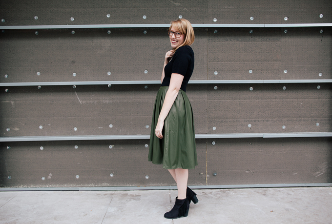 olive leather skirt crop top5