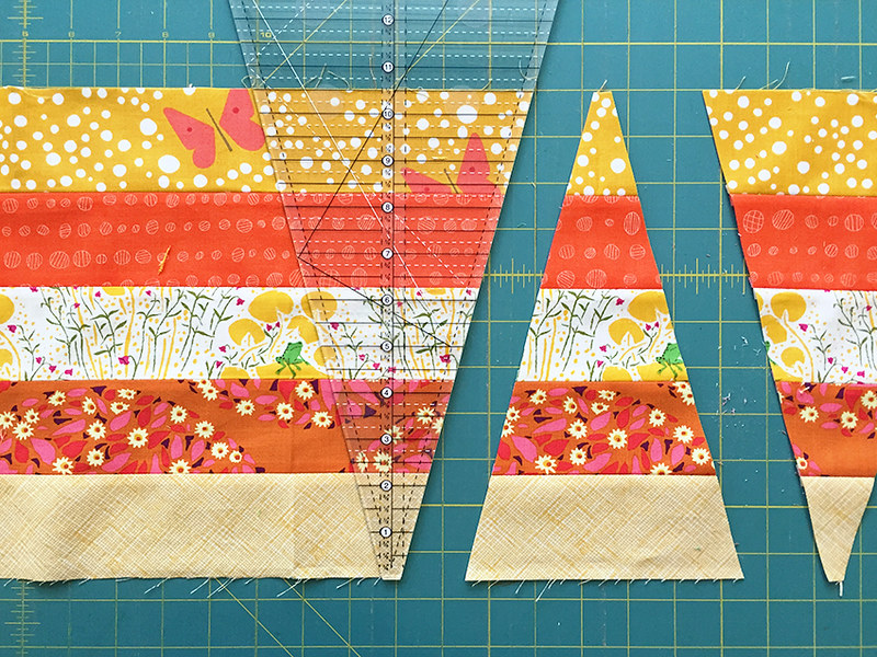 Cutting wedges for Firecrackers Quilt