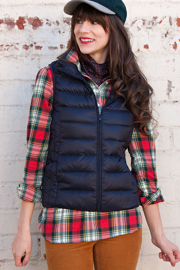Banana Republic Silk Scarf, Red Plaid Button Down, Navy Puffer Vest