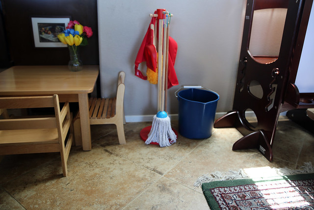 Montessori Toddler Table and Cleaning Materials