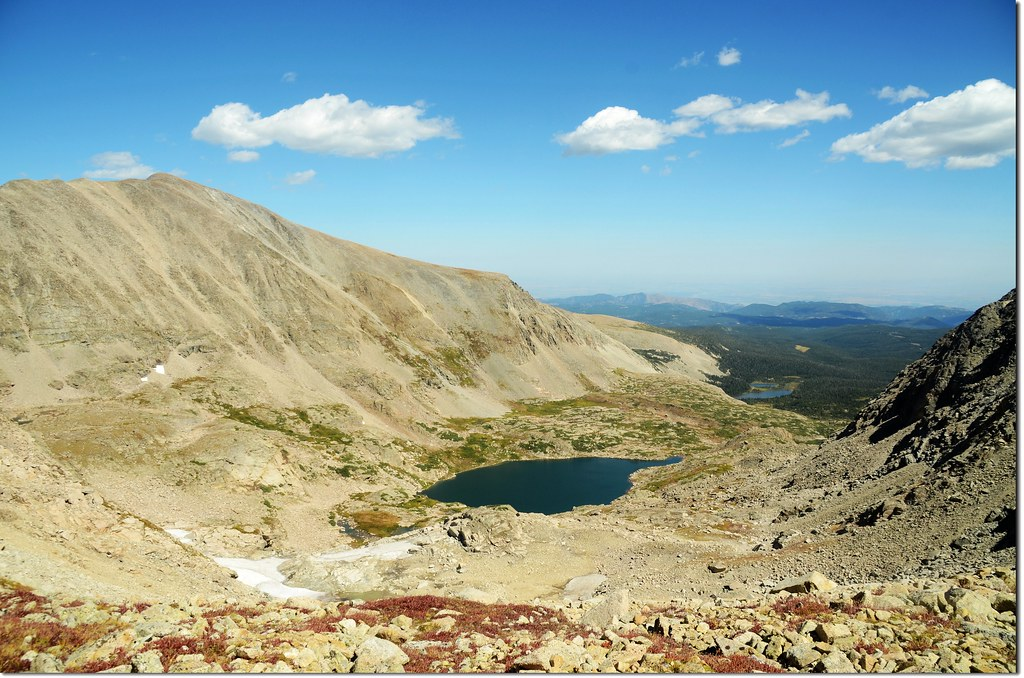 Looking down-valley at Mt Audubon and Blue Lake from the saddle beneath Mt Toll