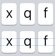 Lowercase keyboard letters are challenging to align vertically
