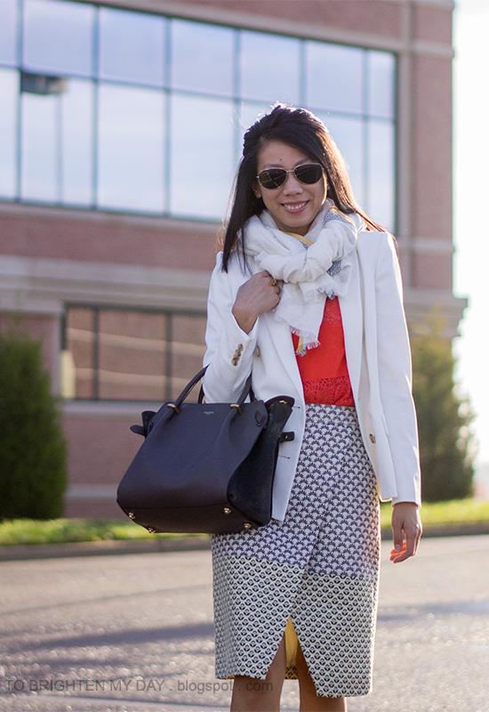 linen scarf, white blazer, orange lace top, brocade wrap skirt
