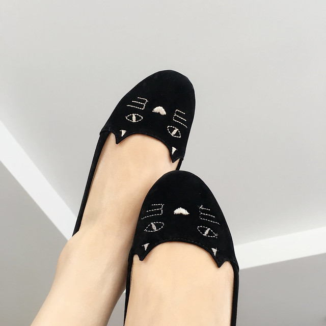 Shein Black Cat Print Round Toe Flats