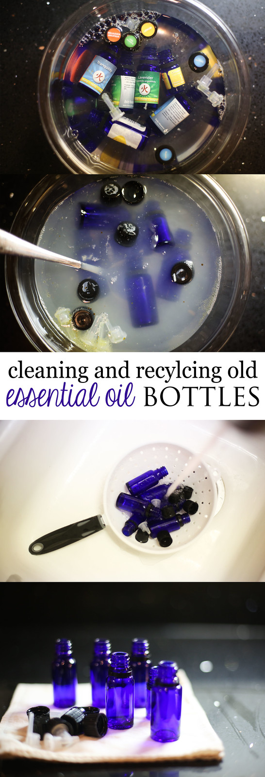 How to clean and recycle old Essential Oil Bottles, with ingredients most have at home.