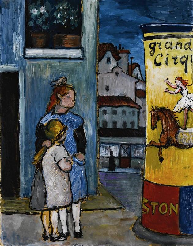 Marianne Werefkin - Zwei kinder vor litfasssäule grand cirque (c.1930)
