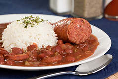 New Orleans cajun style red beans and rice with sa…