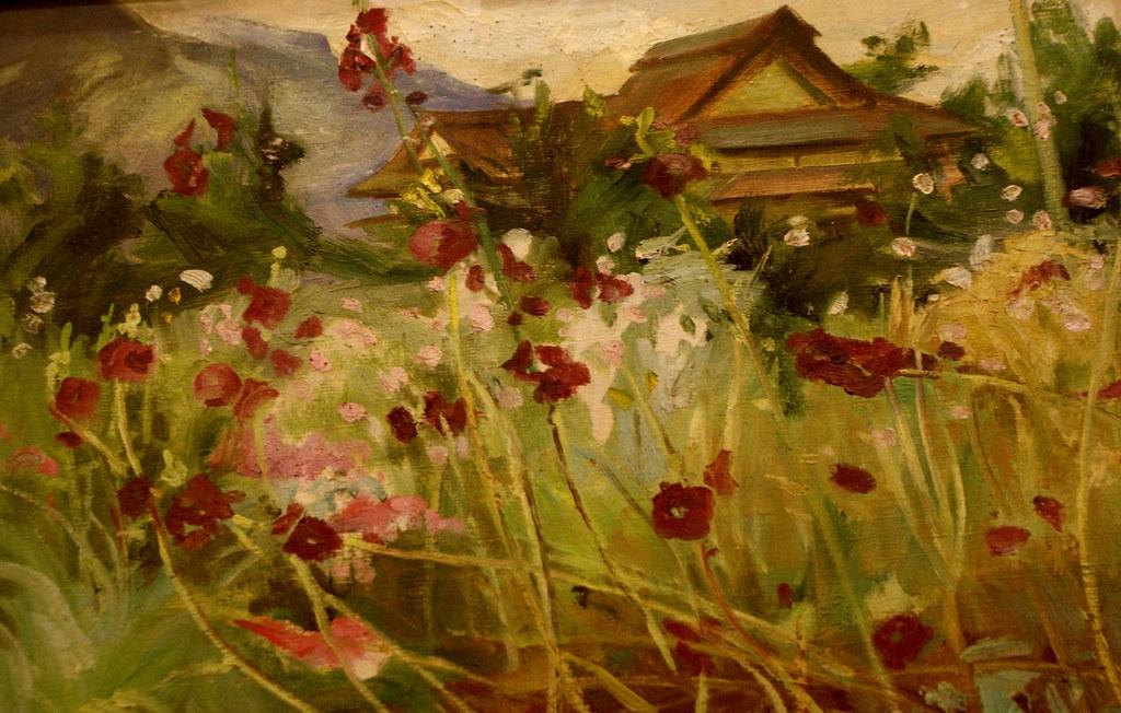 Paysage fleurie au Musée des beaux arts d'Hanoi au Vietnam.