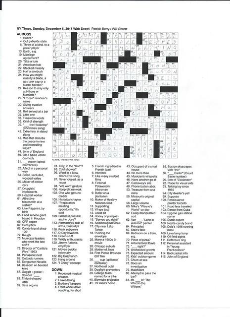 NYT Sunday Puzzle - December 6, 2015