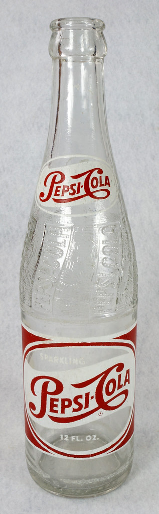 RD14691 1957 Pepsi-Cola Bottle 12 oz Raised Swirl with Painted Red & White ACL Label DSC07710