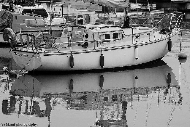 Boat reflecting in the harbour at Bridlington.