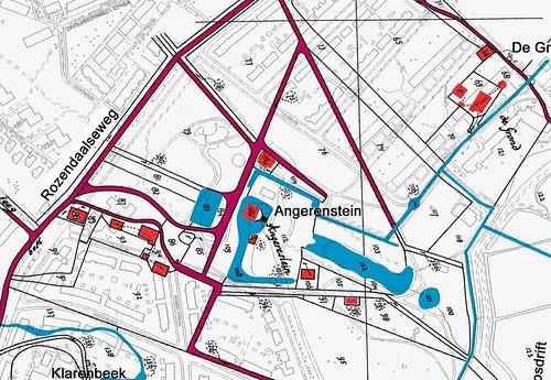 Kaart van 1832 geprojecteerd over de huidige plattegrond