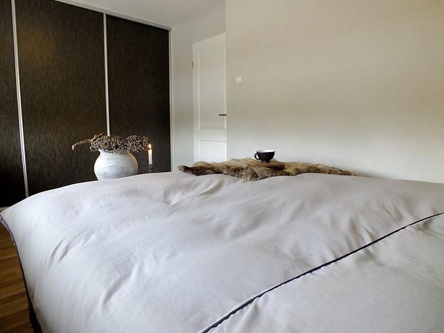 Dekbed landelijke slaapkamer