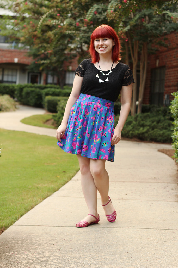 Vintage Pink, Purple and Turquoise Floral Skirt, Pink Sandals, and a Black Lace Shirt