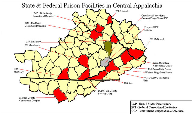 Map showing hte number of prisons in Appalachia