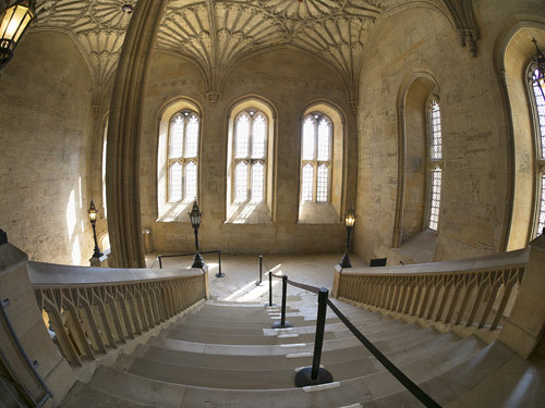 Fisheye view of a staircase leading to the Great Hall in Christ Church College, Oxford