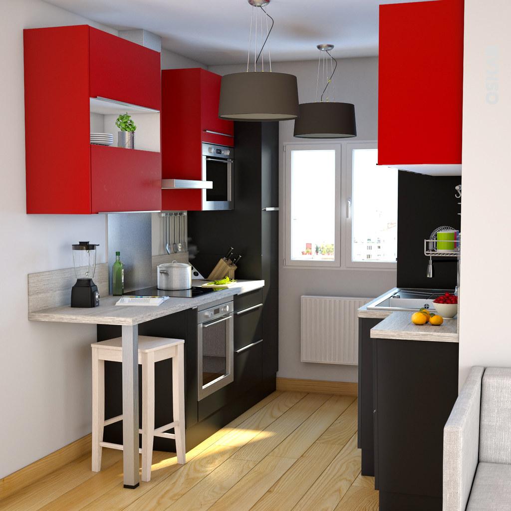 Cuisine moderne noir et rouge maison moderne - Cuisine moderne rouge et noir ...