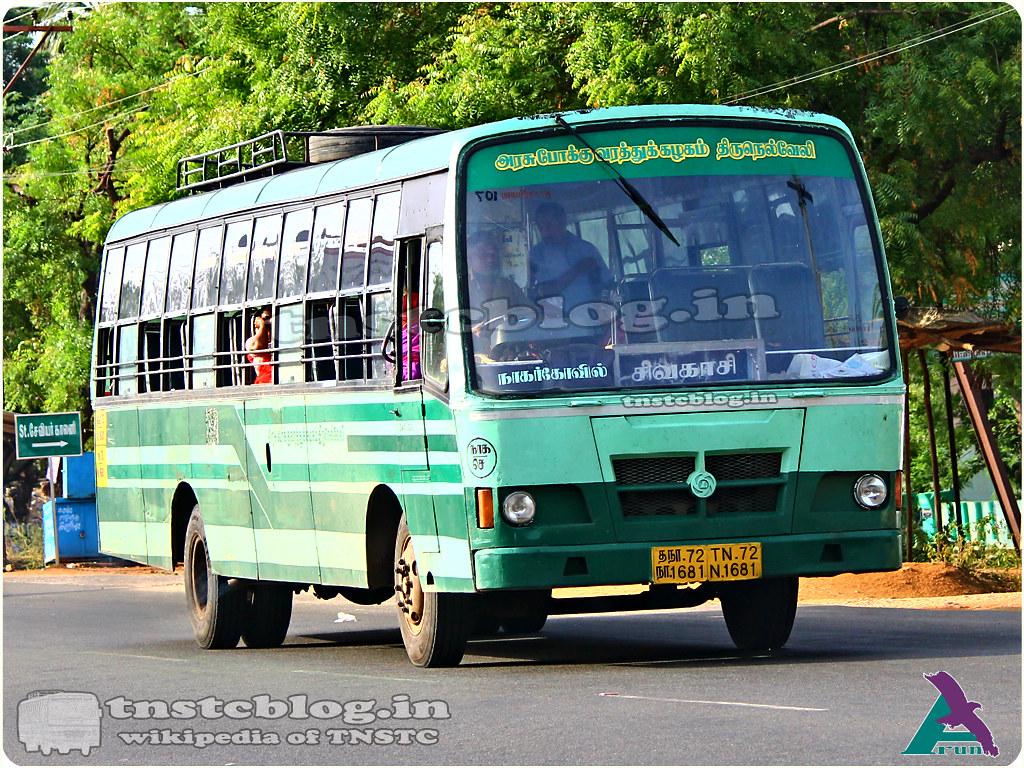 TN-72N-1681 of Chettikulam Depot Route Nagercoil - Sivakasi FP via Valliyoor, Tirunelveli, Kovilpatti, Sattur.