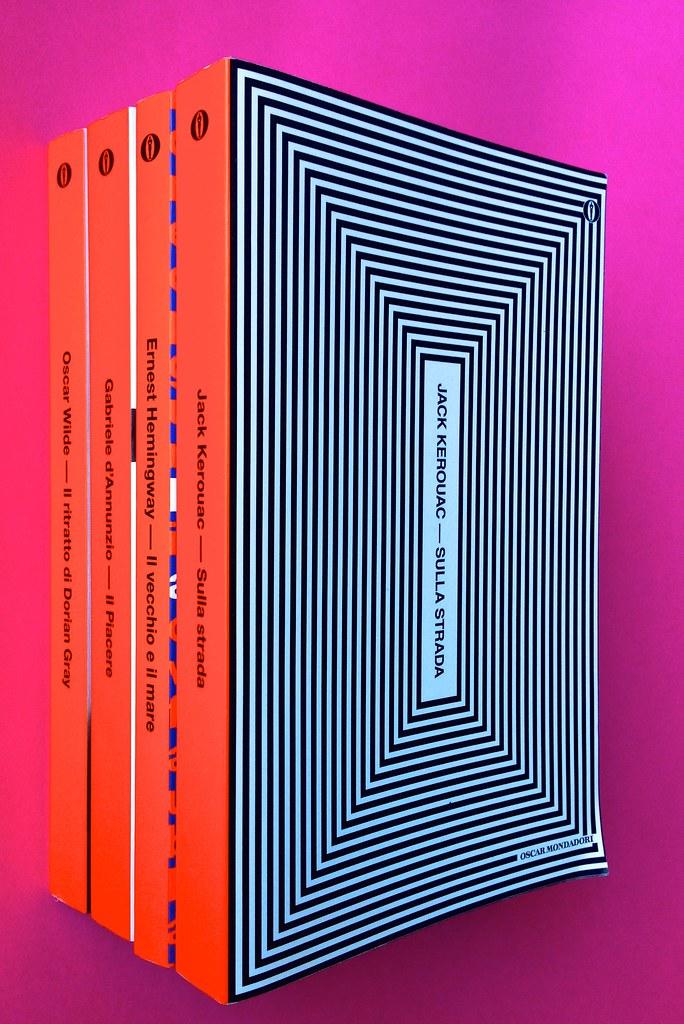 Oscar Mondadori / ied: edizione speciale di 10 titoli per i 50 anni degli Oscar. Art direction: Giacomo Callo. Dorsi di 4 titoli (part.) 1