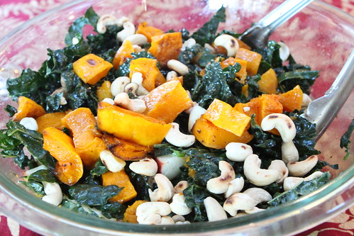 Kale Salad with Roasted Butternut Toasted Cashews, Apples, and Cider Vinaigrette