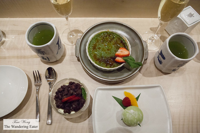 Desserts: Matcha creme brulee, panna cotta topped with adzuki red bean, matcha mochi ice cream
