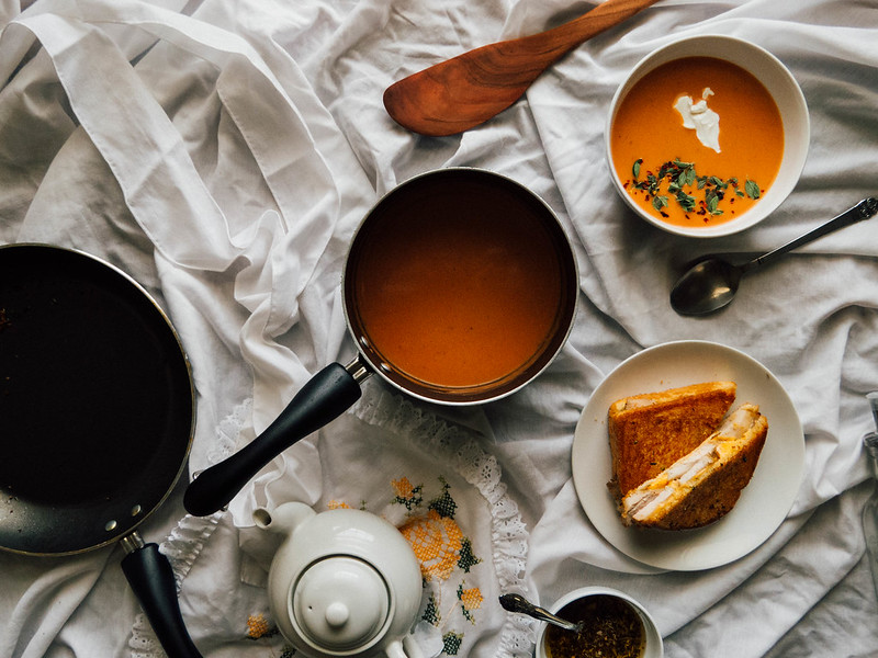 Roasted Tomato Soup with Pork Chop Grilled Cheese Sandwiches