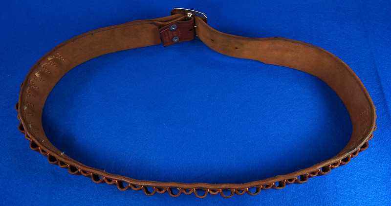 RD15060 Vintage Hand Made By Viking Mexican Leather Gun Ammo Belt .22L 7012 43 inch Long DSC07349