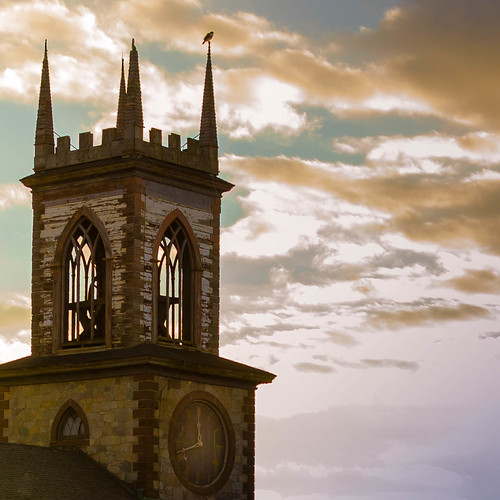 hawk steeple church providence clouds sunset clock