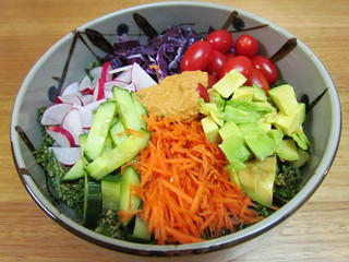 Rawkin' Rainbow Kale Salad with Creamy Chili-Lime Dressing