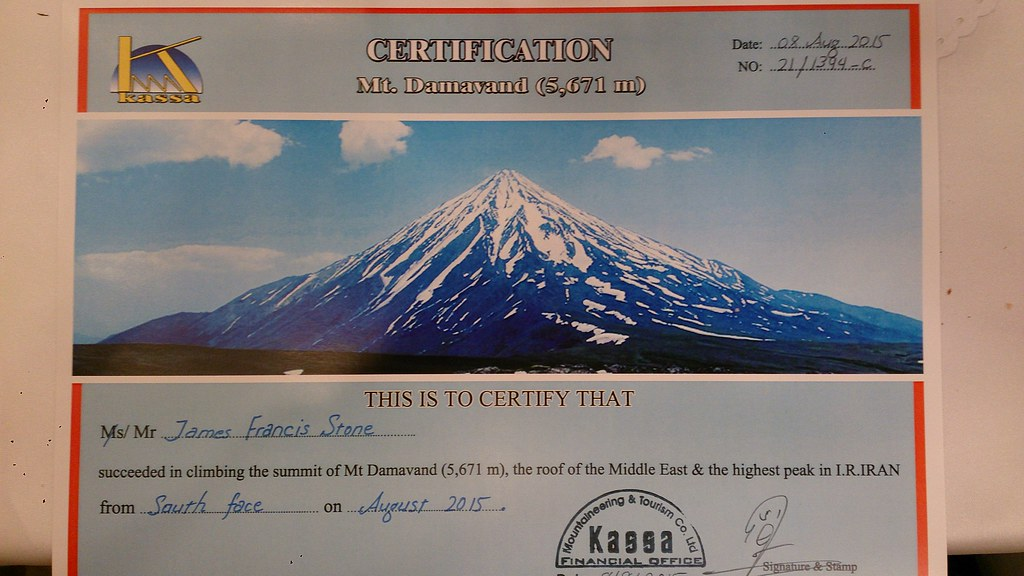 Damavand summit certificate