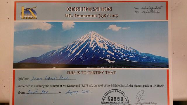 Damavand summit certificate