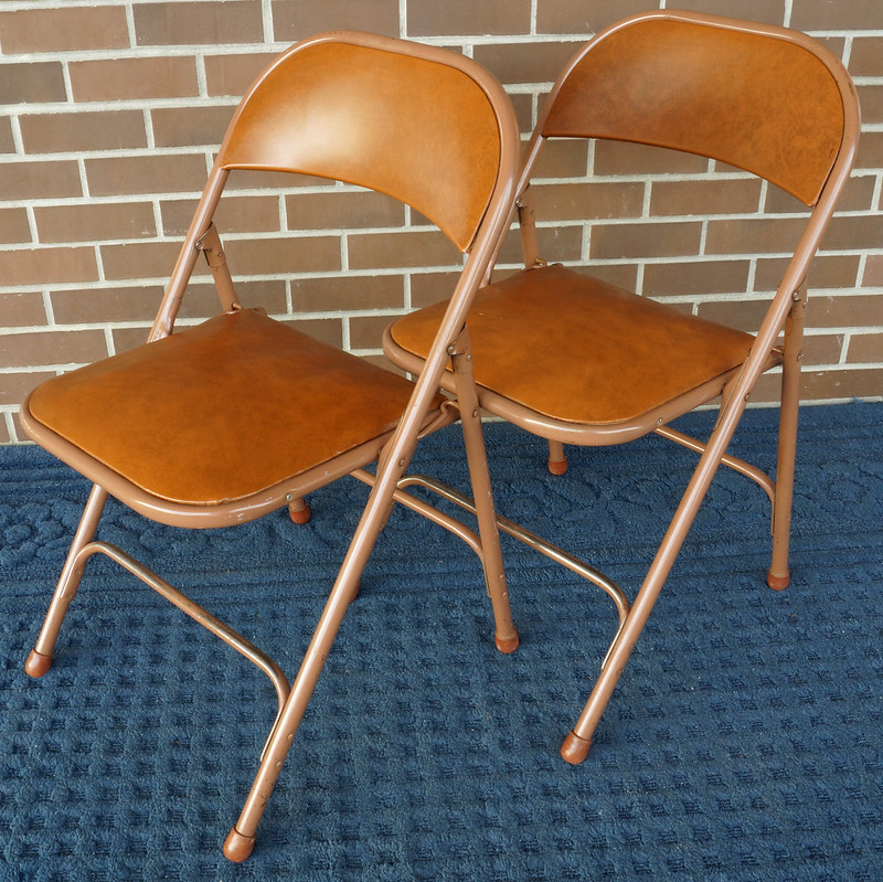 Hardwood Floor Refinishing Quad Cities: 2 Vintage Mid Century Samson Folding Chairs