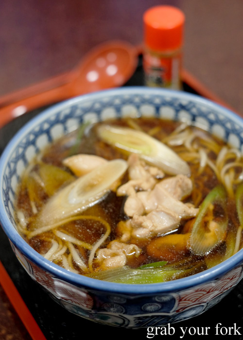 Soba noodles with with chicken and vegetables in Otaru, Hokkaido