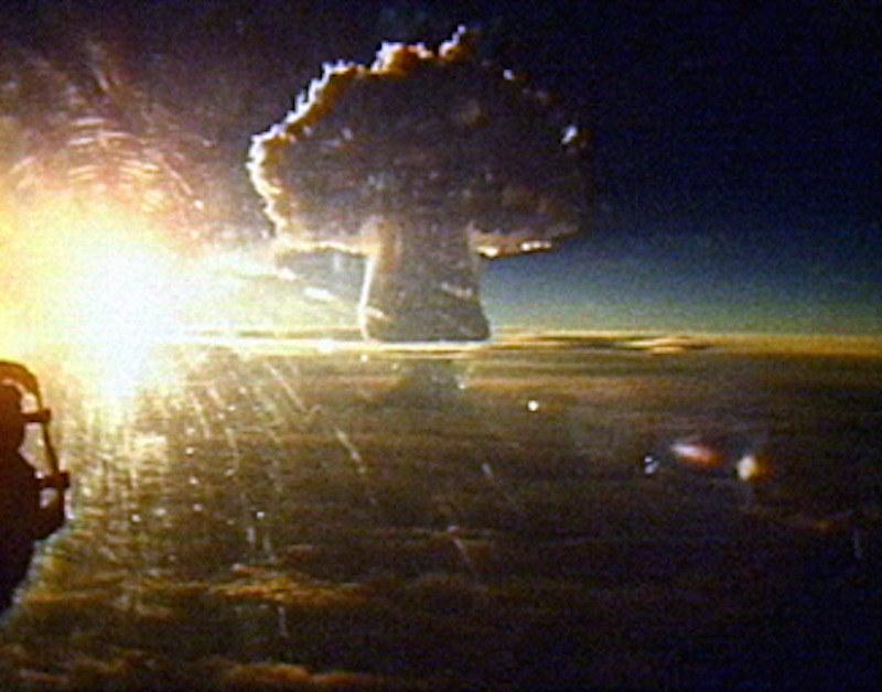 The Tsar Bomba mushroom cloud seen from a distance of 161 km