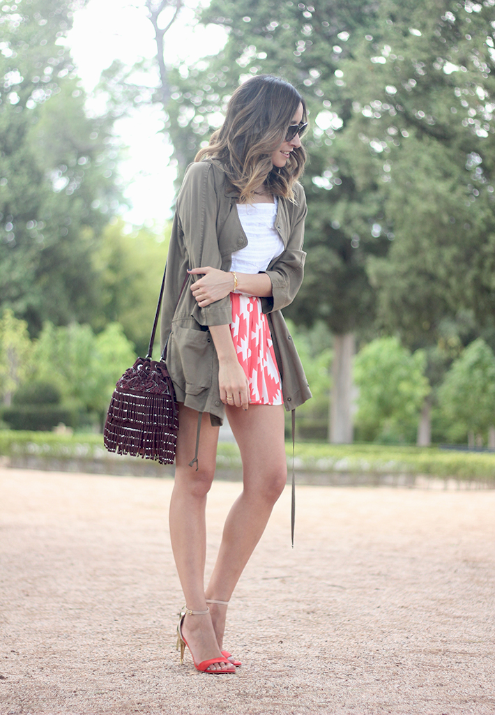 Green Parka White Top Pepe Jeans Shorts Coral Sandals Heels Outfit11