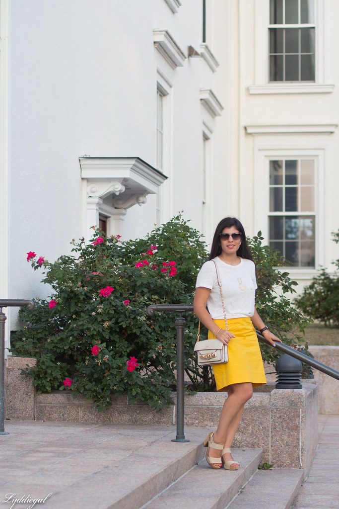 ampersand tee, yellow pencil skirt, studded bag-6.jpg