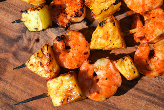 Glazed Shrimp & Pineapple Skewers