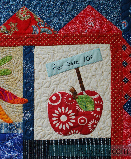 pat sloan Farmer market block 3 sew along apple