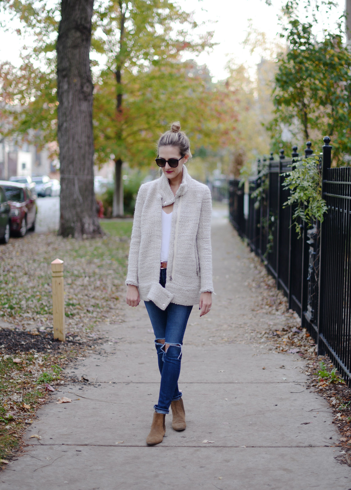 fall outfit chunky knit moto jacket