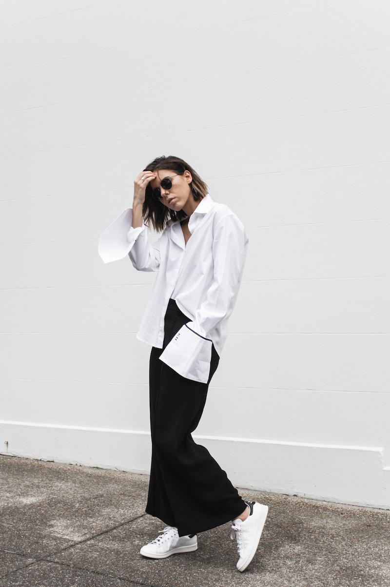 Adidas Stan Smith, street style, off duty, oversized French cuff shirt, Anna Quan, wide leg pant, monochrome, fashion blogger, modern legacy