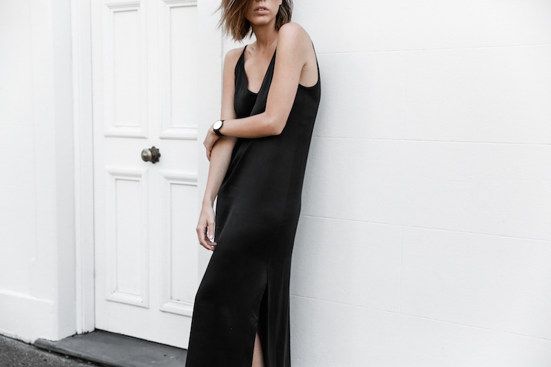 slip dress, street style, silk, black, minimal, 90s, modern legacy, fashion blogger