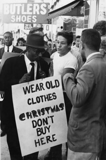 Rev. C.K. Steele picketing downtown stores during demonstration in Tallahassee