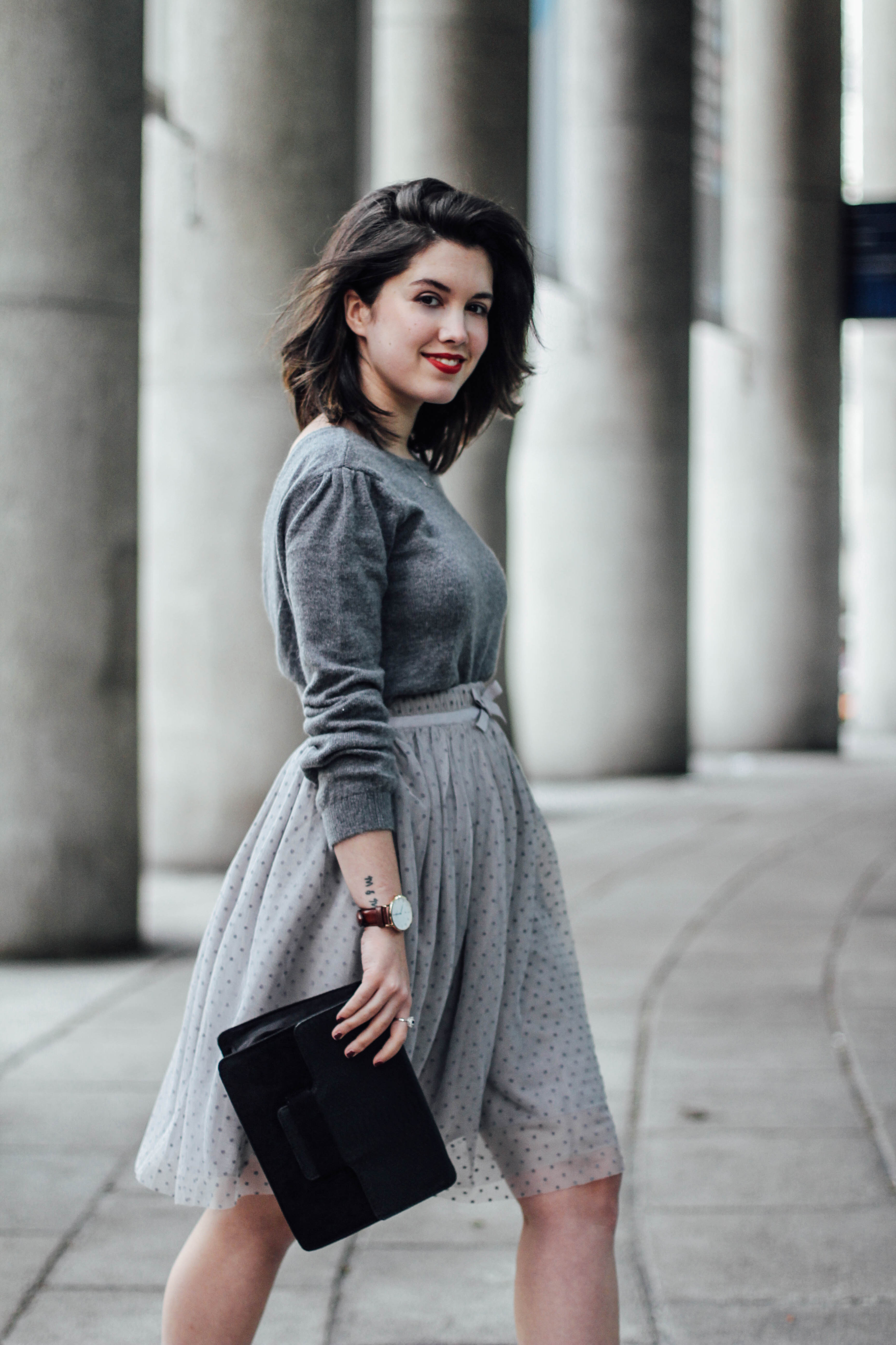 look de navidad con falda de tul gris mademoiselle r x la redoute