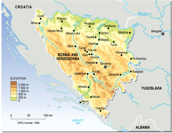 Topographic map of Bosnia and Herzegovina | GRID-Arendal on
