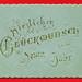 Neujahrsgrußkarte mit Goldprägung auf hellblauen Karton, by altpapiersammler
