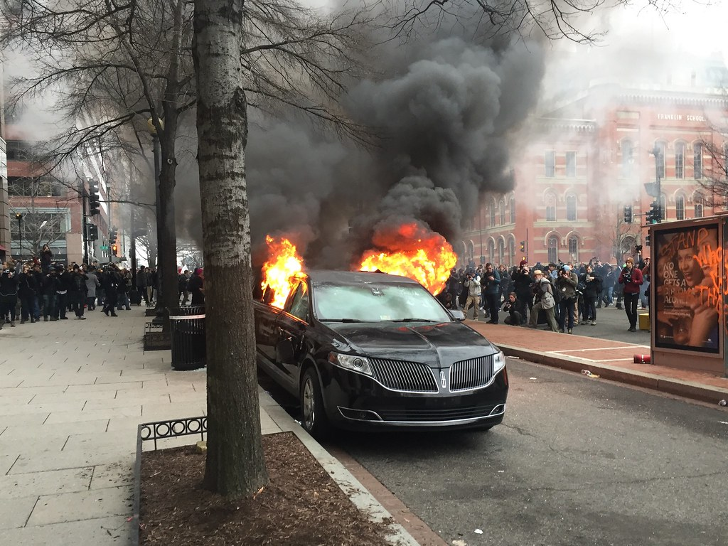 limo in flames on K St