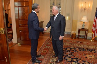 Secretary Tillerson Greets UAE Foreign Minister bin Zayed Before Their Meeting in Washington